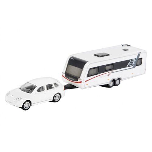 Porsche Cayenne ikertengelyes lakókocsival Hymer Nova S690 fehér, méretarány 1:87.