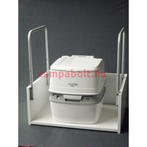 Kapaszkodóval felszerelt WC-tartó állvány szobai mobil toaletthez.