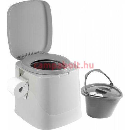 Vödrös toalett, színe szürke. A kivehető fedeles vödör űrmérete kb. 7 liter.