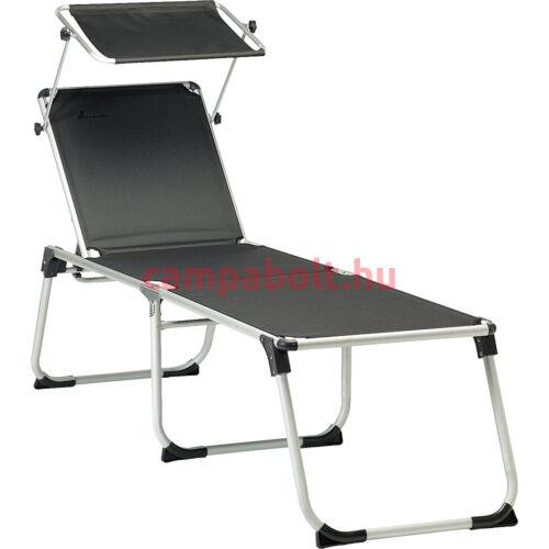 Napozóágy ülésmagasságú fekvőfelülettel sötét szürke színben